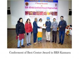 ICAR-AICRP(Fruits) –BEST CENTER AWARD-2019